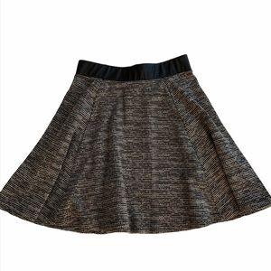 H&M Heather Grey/ Black Leather Circle Skirt